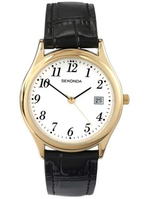 Mens Sekonda classic gold plated leather strap 3474.00 Watch