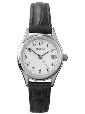 Womens Sekonda thin classic black leather strap 4081.00 Watch