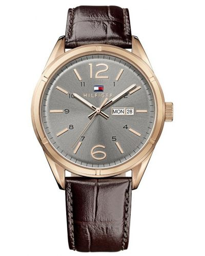 Mens Tommy Hilfiger Charlie classic brown leather strap 1791058 Watch