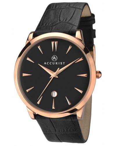Mens Accurist Classic rose gold black leather strap 7029.00 Watch