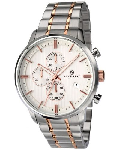 Mens Accurist Chronograph stainless steel rose gold highlighted 7035.00 Watch