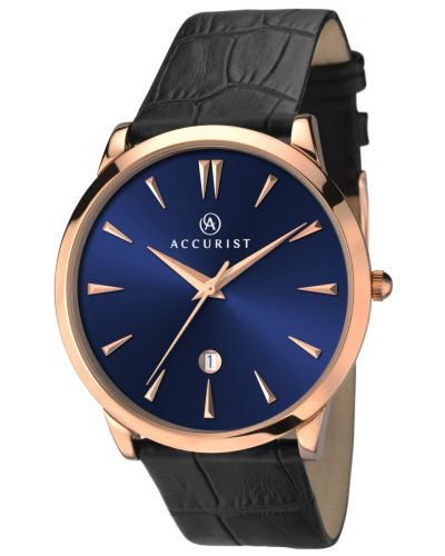 Mens Accurist Classic rose gold plated black leather strap 7061.00 Watch