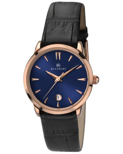 Womens Accurist Classic rose gold black leather strap 8074.00 Watch