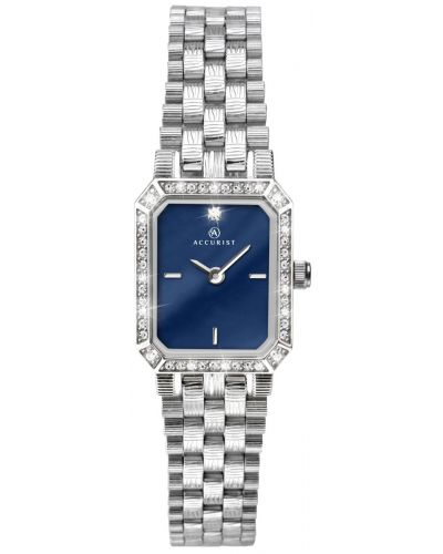 Womens Accurist Classic rectangular crystal set stainless steel 8078.00 Watch