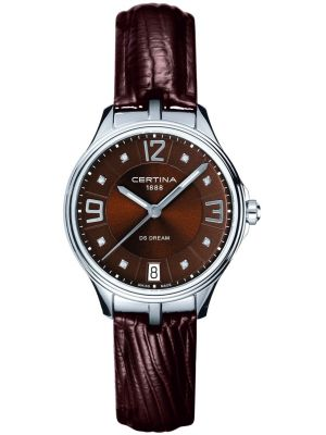 Womens Certina DS Dream brown classic leather strap C0212101629600 Watch