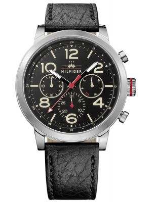 Tommy Hilfiger Jake black leather strap 1791232 Watch