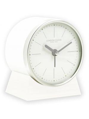 White Skarp minimal alarm clock in white resin and wood | 04178