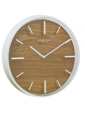 White metal and wood minimal Skog wall clock   01114