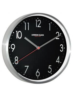 Sleek modern brushed metal wall clock with black dial | 01101