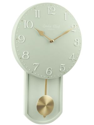 Green pendulum wall clock with brushed gold detail | 02124