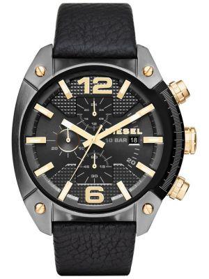 Mens Diesel Overflow cracked black leather DZ4375 Watch