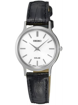 Womens Seiko Solar black leather SUP299P1 Watch