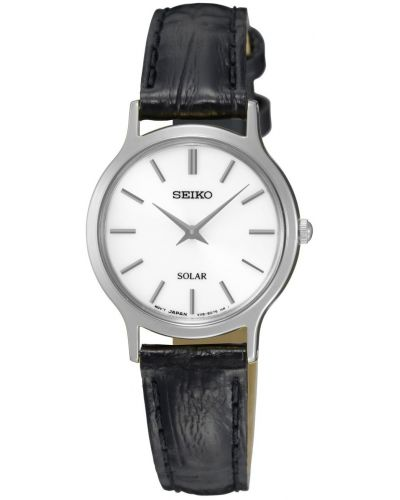 Womens Seiko Solar black leather SUP299P1 Watch