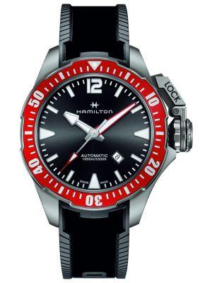 Mens Hamilton Khaki Navy black rubber strap H77805335 Watch