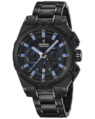 Mens Festina ChronoBike quartz black ip plated F16969/2 Watch