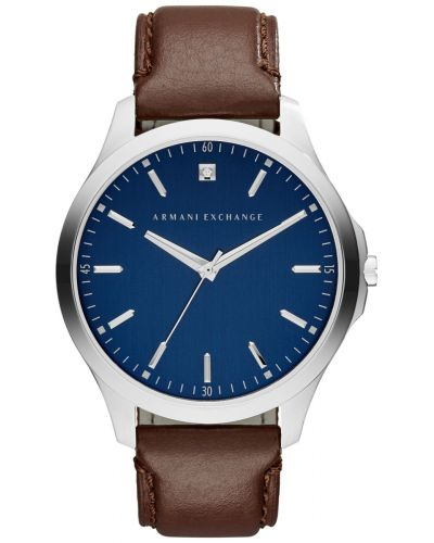Mens Armani Exchange Hampton brown leather steel AX2181 Watch