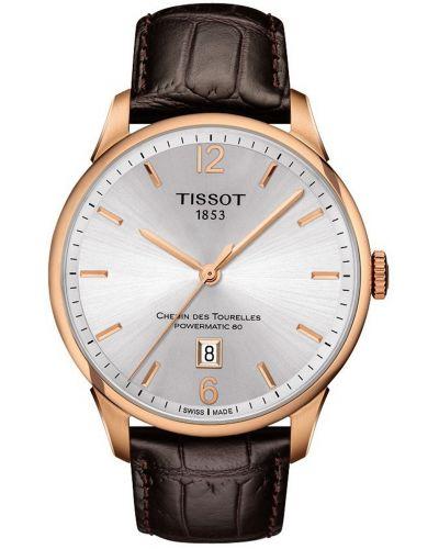 Mens Tissot Chemin Des Tourelles brown leather strap T099.407.36.037.00 Watch