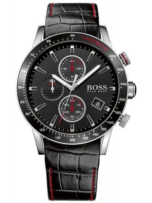 Mens Hugo Boss Rafale black leather chronograph 1513390 Watch