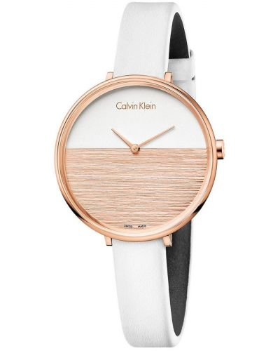 Womens Calvin Klein RISE Rose Gold and White Strap K7A236LH Watch