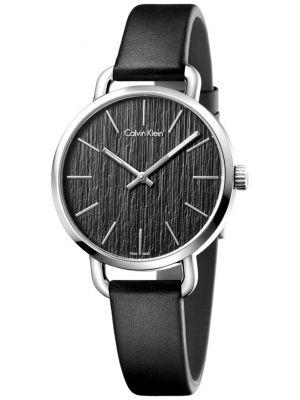Womens Calvin Klein EVEN Steel on Black Strap K7B231C1 Watch