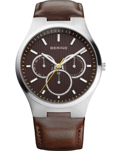 Mens Bering Classic Stainless steel brown leather strap 13841-505 Watch