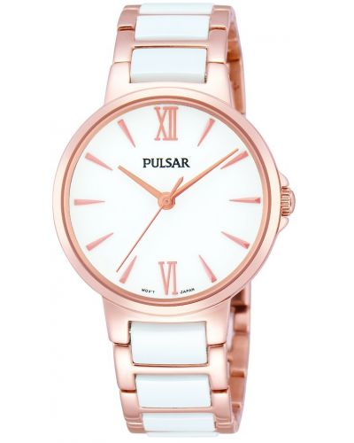 Womens Pulsar  Dress Wear Rose and White Ceramic PH8078X1 Watch