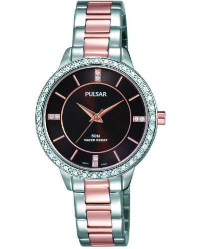 Womens Pulsar  Dress Wear Crystal Set Two Tone PH8217X1 Watch