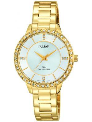 Womens Pulsar  Dress Wear Gold Crystal Set PH8218X1 Watch