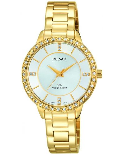 Womens Pulsar  Dress Wear Gold Crystal Set PH8218X1 Watch