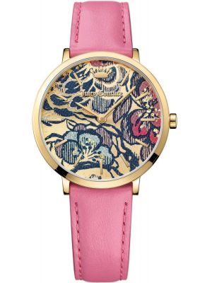 Womens Juicy Couture Ultra Slim Gold Flower Dial 1901456 Watch