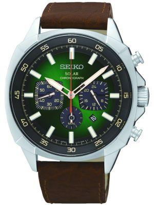 Mens Seiko Solar Green Dial Chronograph SSC513P9 Watch