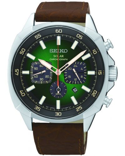 Mens Seiko Solar Green Dial Chronograph SSC513P9 Watch
