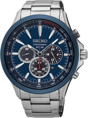 Mens Seiko Solar Blue Chronograph SSC495P1 Watch