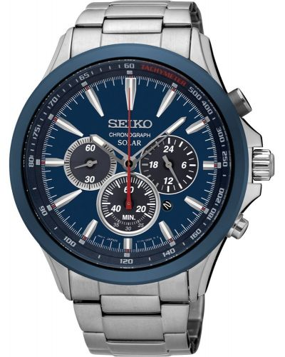 Mens Seiko Solar Blue Chronograph SSC495P1 Watch
