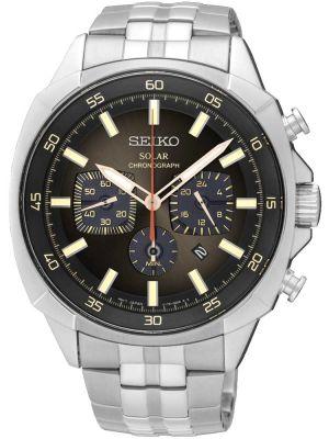 Mens Seiko Solar Chronograph Steel Bracelet SSC511P9 Watch