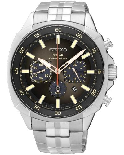 Mens Seiko Solar Chronograph Steel Bracelet SSC511P9 Watch