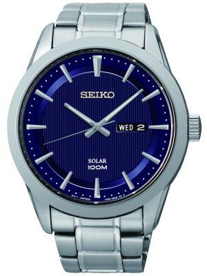Mens Seiko Solar Blue Dial Day Date SNE361P1 Watch