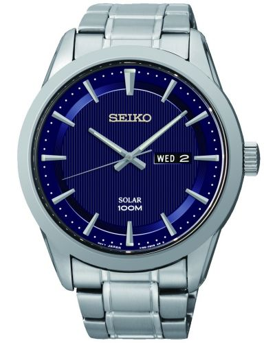Mens Seiko Solar Blue Dial Day Date SNE361P1 Watch