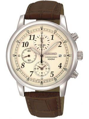 Mens Seiko Gents Chronograph Brown Strap SNDC31P1 Watch