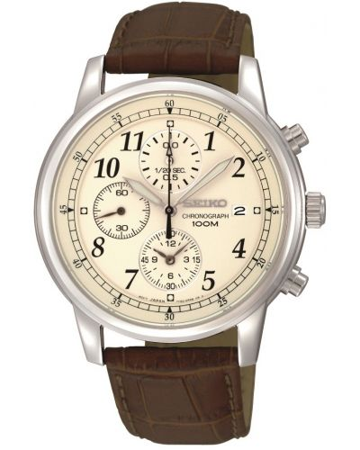Mens Seiko Gents Chronograph Brown Strap SNDC31P1 Watch