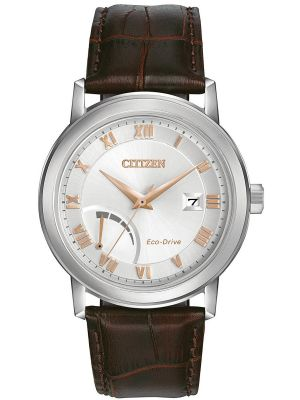 Mens Citizen Power Reserve Steel on Brown Strap AW7020-00A Watch