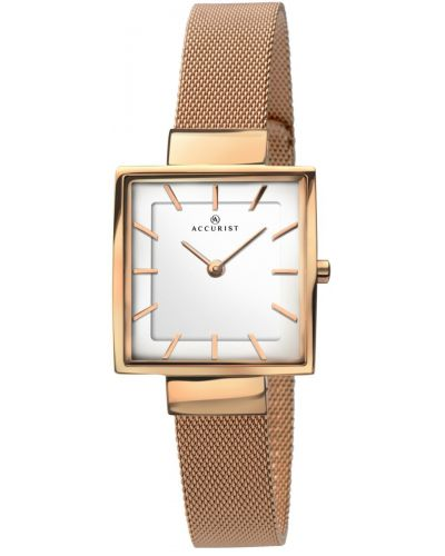 Womens Accurist Classic Square Rose Mesh 8132.00 Watch