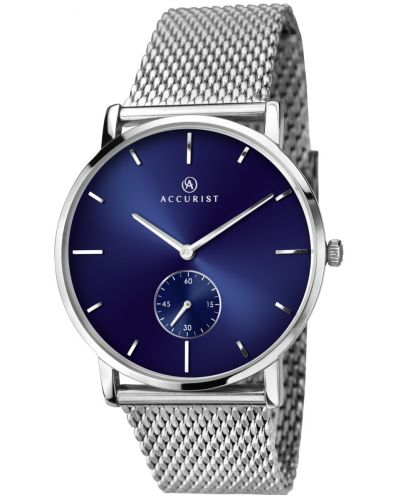 Mens Accurist Classic Blue Dial Steel Mesh 7126.00 Watch