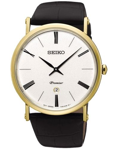 Mens Seiko Premier Gold Plated on Strap SKP396P1 Watch