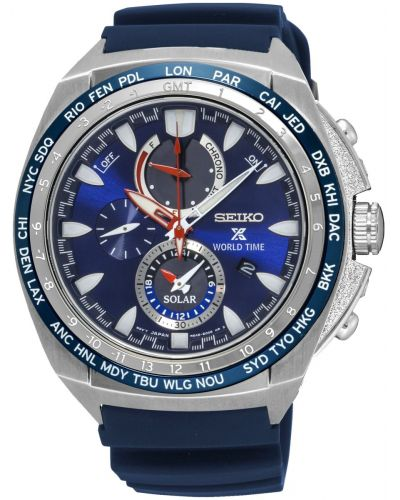 Mens Seiko Prospex Worldtime Blue Strap SSC489P1 Watch