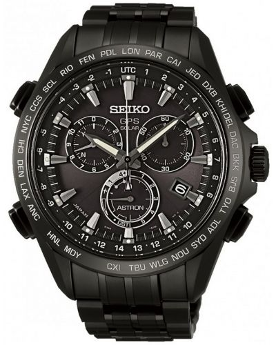 Mens Seiko Astron GPS Satellite Controlled Black Chrono SSE009J1 Watch