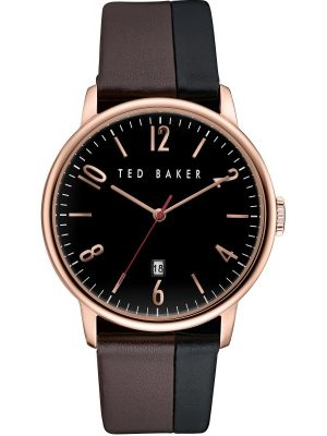 Mens Ted Baker Gents Rose Case Black and Brown Strap TE10030756 Watch