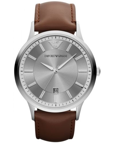 Mens Emporio Armani Classic Steel on Brown Leather AR2463 Watch