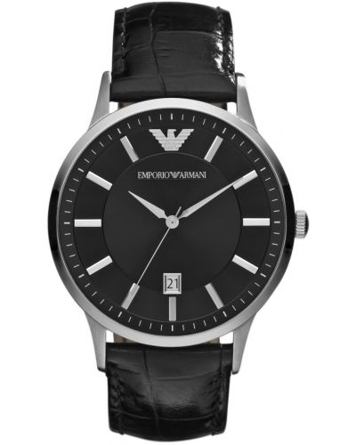 Mens Emporio Armani Classic Black Dial stainless steel AR2411 Watch
