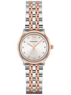 Womens Emporio Armani Dress crystal set dial Rose two tone AR1962 Watch
